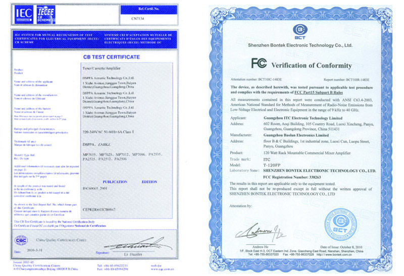 certificate of pa system